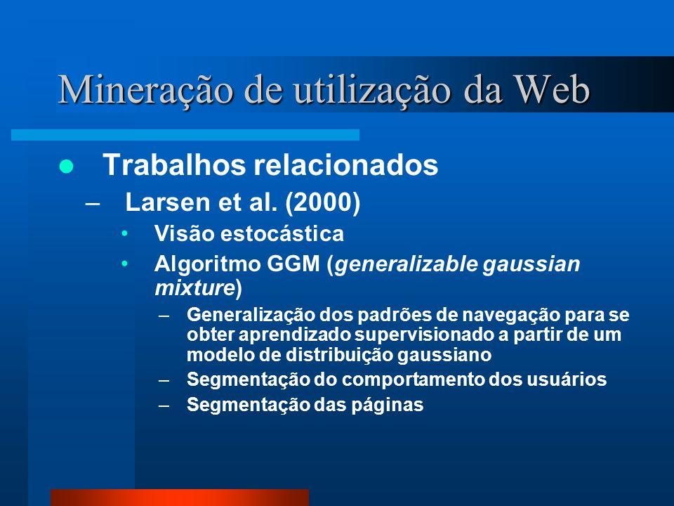Mineração de utilização da Web Trabalhos relacionados –Larsen et al. (2000) Visão estocástica Algoritmo GGM (generalizable gaussian mixture) –Generali