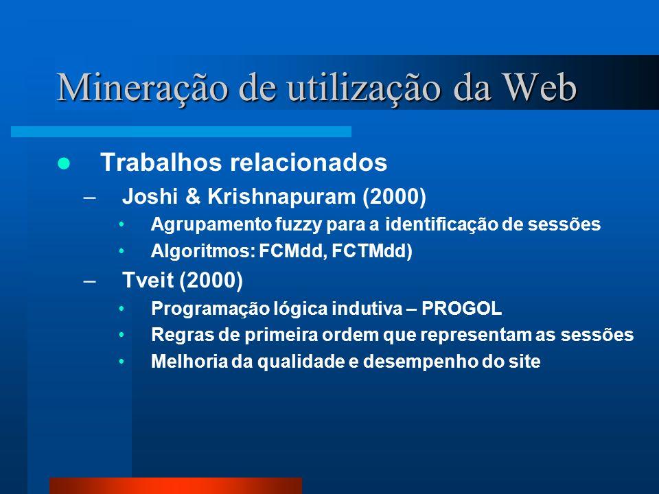 Mineração de utilização da Web Trabalhos relacionados –Joshi & Krishnapuram (2000) Agrupamento fuzzy para a identificação de sessões Algoritmos: FCMdd