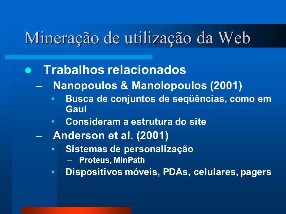 Mineração de utilização da Web Trabalhos relacionados –Nanopoulos & Manolopoulos (2001) Busca de conjuntos de seqüências, como em Gaul Consideram a es