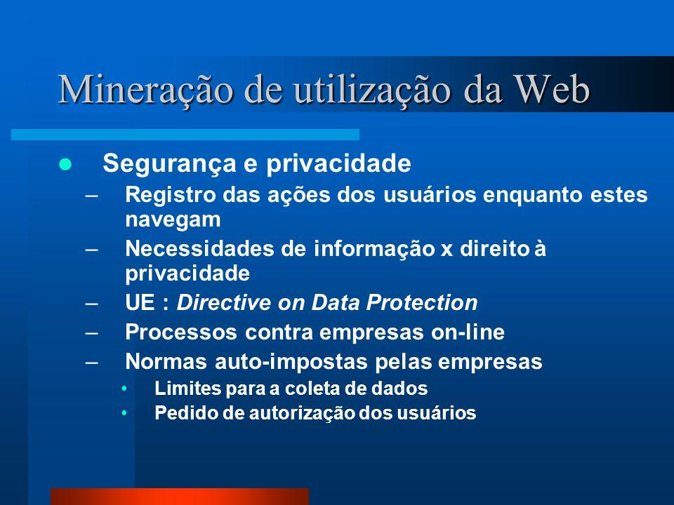 Mineração de utilização da Web Segurança e privacidade –Registro das ações dos usuários enquanto estes navegam –Necessidades de informação x direito à