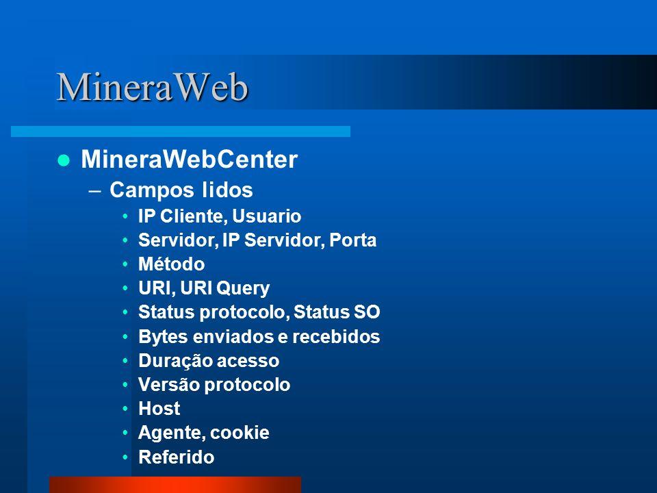 MineraWeb MineraWebCenter –Campos lidos IP Cliente, Usuario Servidor, IP Servidor, Porta Método URI, URI Query Status protocolo, Status SO Bytes envia