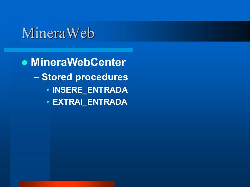 MineraWeb MineraWebCenter –Stored procedures INSERE_ENTRADA EXTRAI_ENTRADA