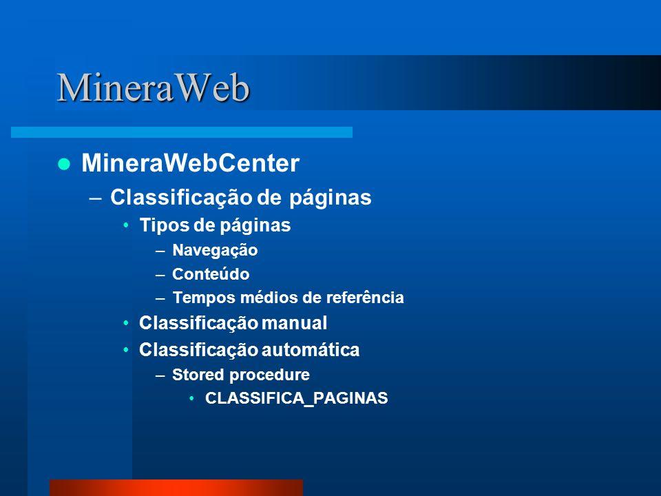 MineraWeb MineraWebCenter –Classificação de páginas Tipos de páginas –Navegação –Conteúdo –Tempos médios de referência Classificação manual Classifica