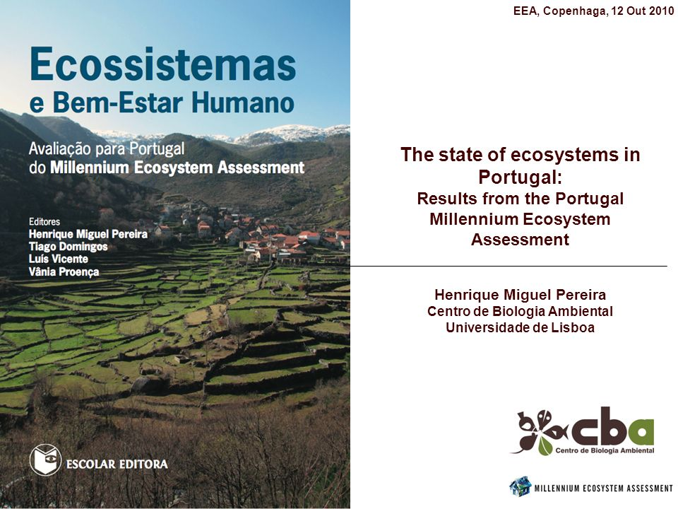 The Portugal Sub-Global Assessment Lead by the Center for Environmental Biology (University of Lisbon) Assessment team composed by 60 scientists from diverse fields: ecology, agricultural science, forest science, economics and social sciences.
