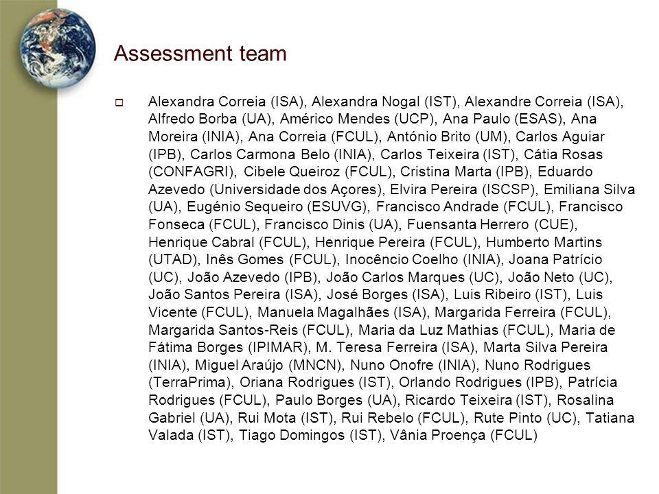 Assessment team Alexandra Correia (ISA), Alexandra Nogal (IST), Alexandre Correia (ISA), Alfredo Borba (UA), Américo Mendes (UCP), Ana Paulo (ESAS), A