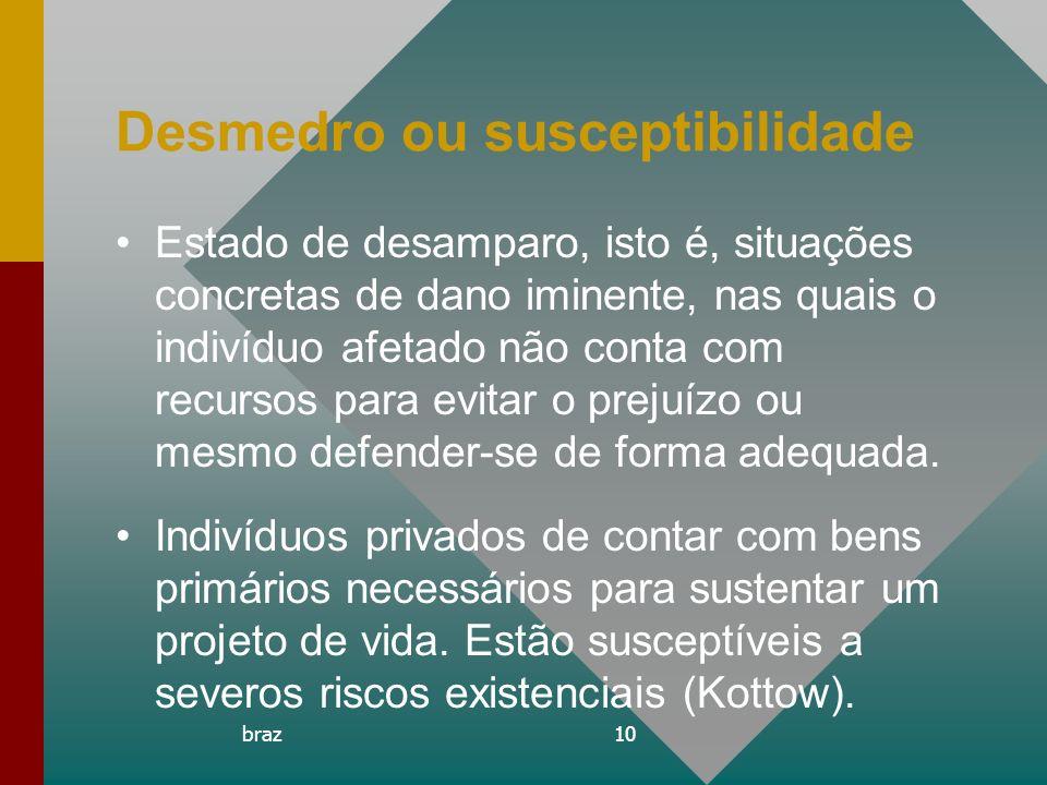braz10 Desmedro ou susceptibilidade Estado de desamparo, isto é, situações concretas de dano iminente, nas quais o indivíduo afetado não conta com rec