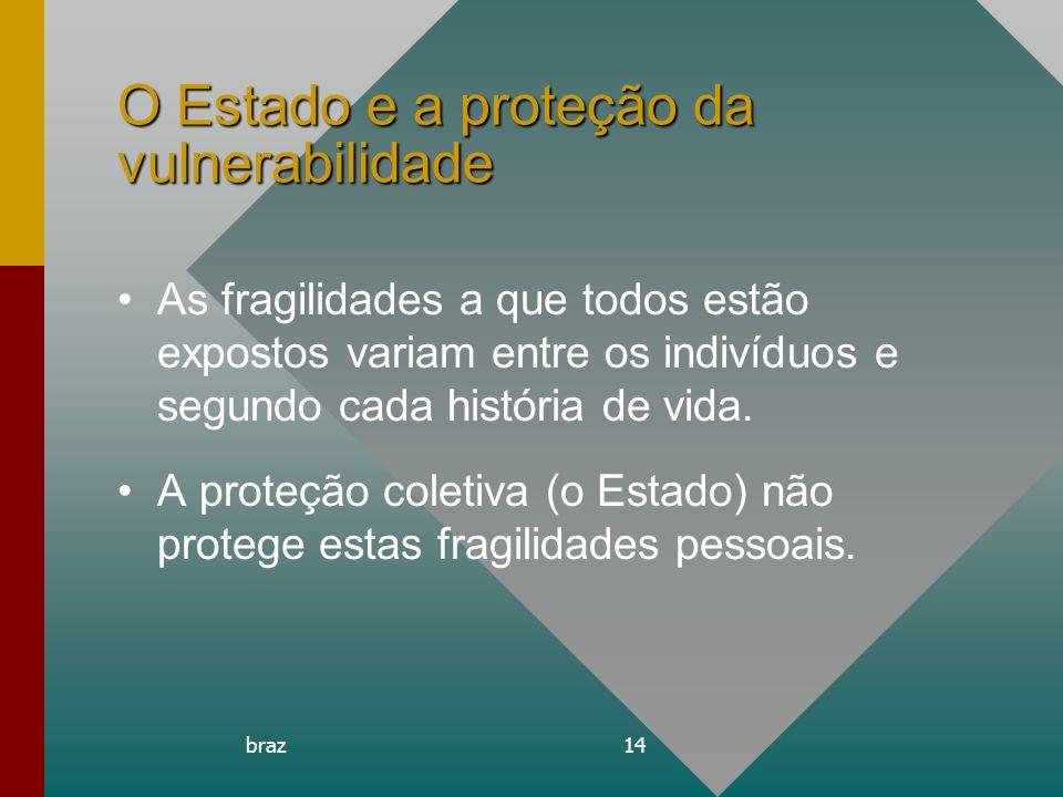 braz14 O Estado e a proteção da vulnerabilidade As fragilidades a que todos estão expostos variam entre os indivíduos e segundo cada história de vida.