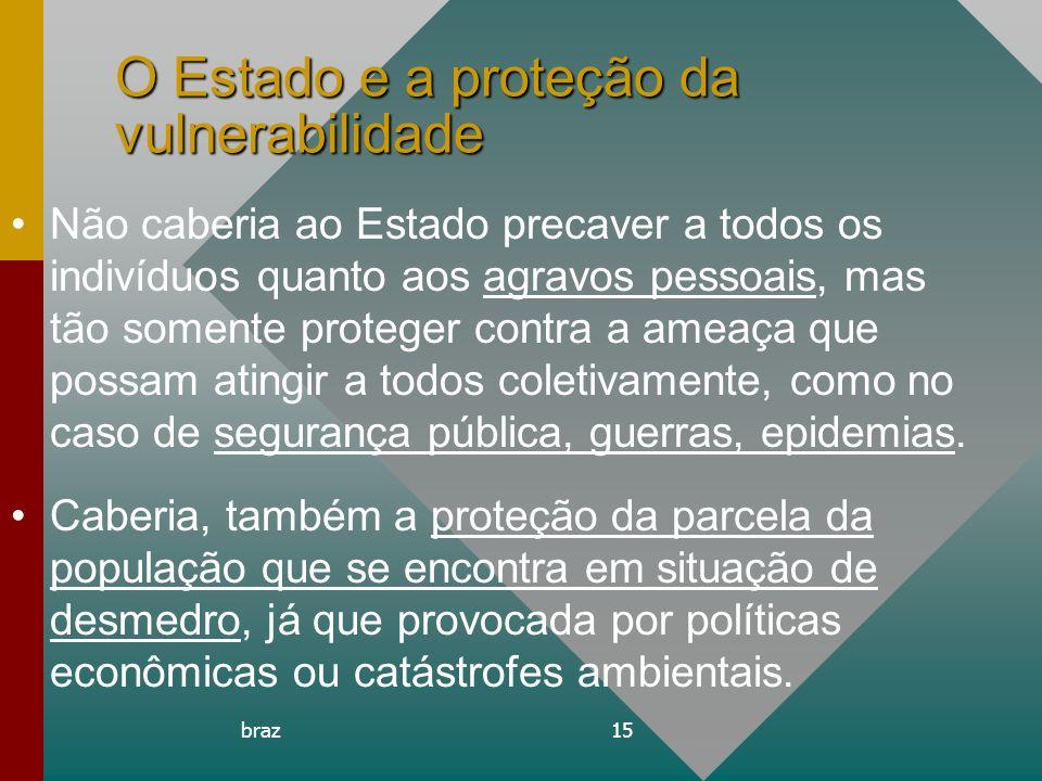 braz15 O Estado e a proteção da vulnerabilidade Não caberia ao Estado precaver a todos os indivíduos quanto aos agravos pessoais, mas tão somente prot