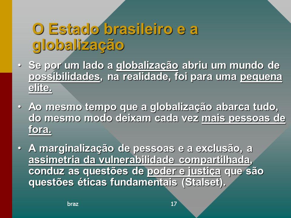 braz17 O Estado brasileiro e a globalização Se por um lado a globalização abriu um mundo de possibilidades, na realidade, foi para uma pequena elite.S