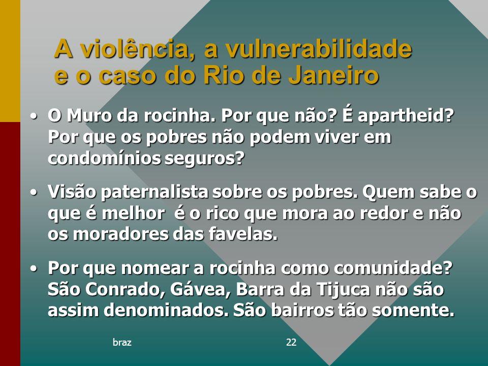 braz22 A violência, a vulnerabilidade e o caso do Rio de Janeiro O Muro da rocinha. Por que não? É apartheid? Por que os pobres não podem viver em con