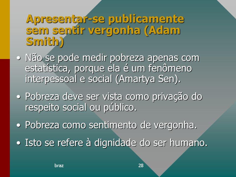 braz28 Apresentar-se publicamente sem sentir vergonha (Adam Smith) Não se pode medir pobreza apenas com estatística, porque ela é um fenômeno interpes
