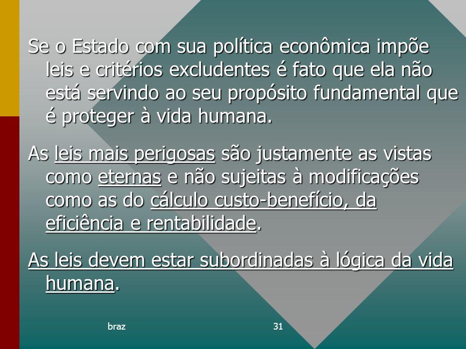 braz31 Se o Estado com sua política econômica impõe leis e critérios excludentes é fato que ela não está servindo ao seu propósito fundamental que é p