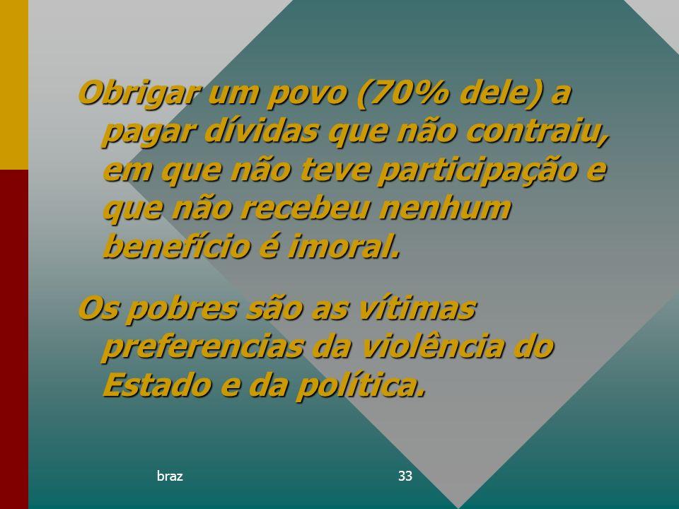 braz33 Obrigar um povo (70% dele) a pagar dívidas que não contraiu, em que não teve participação e que não recebeu nenhum benefício é imoral. Os pobre