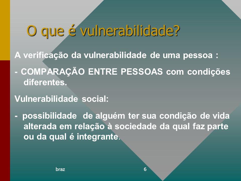 braz6 O que é vulnerabilidade? A verificação da vulnerabilidade de uma pessoa : - COMPARAÇÃO ENTRE PESSOAS com condições diferentes. Vulnerabilidade s