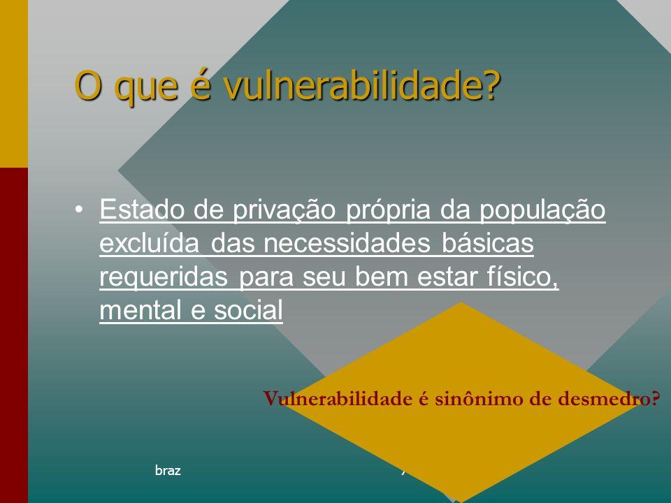 braz7 O que é vulnerabilidade? Estado de privação própria da população excluída das necessidades básicas requeridas para seu bem estar físico, mental