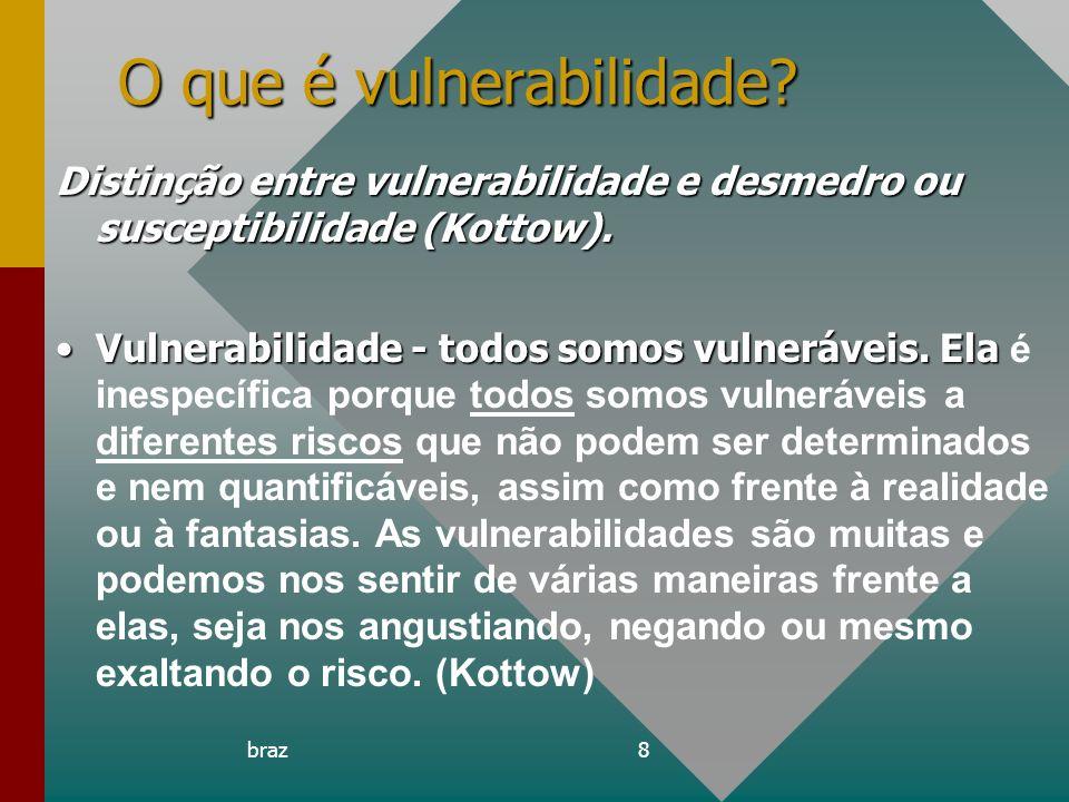 braz8 O que é vulnerabilidade? Distinção entre vulnerabilidade e desmedro ou susceptibilidade (Kottow). Vulnerabilidade - todos somos vulneráveis. Ela
