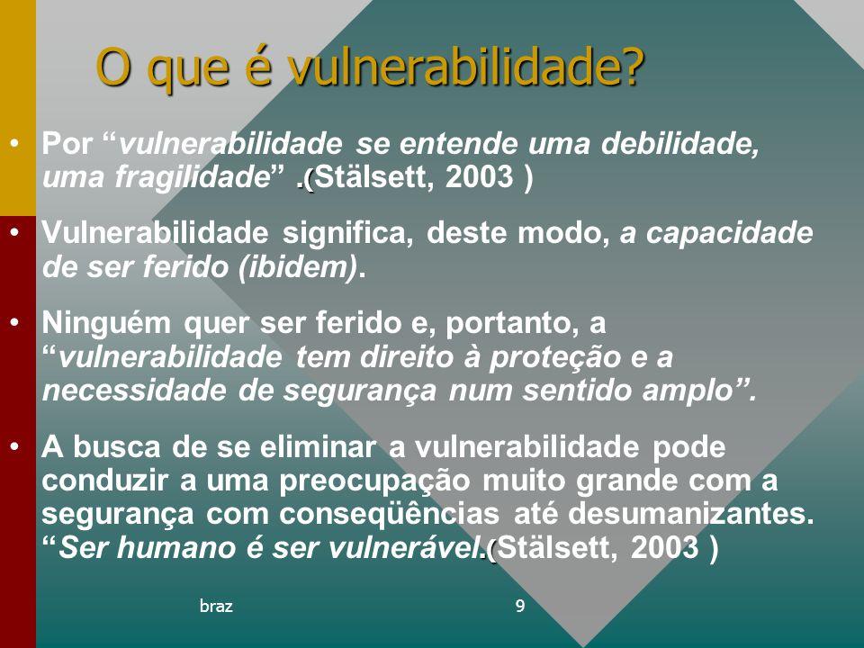 braz9 O que é vulnerabilidade?.(Por vulnerabilidade se entende uma debilidade, uma fragilidade.( Stälsett, 2003 ) Vulnerabilidade significa, deste mod