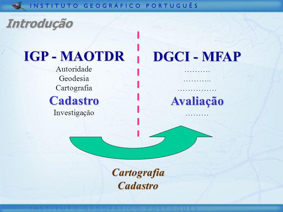 IGP - MAOTDR Autoridade Geodesia CartografiaCadastro Investigação DGCI - MFAP ………. ……….. ……………Avaliação ……… CartografiaCadastro Introdução