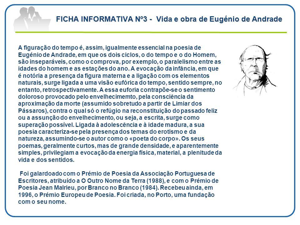 FICHA INFORMATIVA Nº3 - Vida e obra de Eugénio de Andrade A figuração do tempo é, assim, igualmente essencial na poesia de Eugénio de Andrade, em que