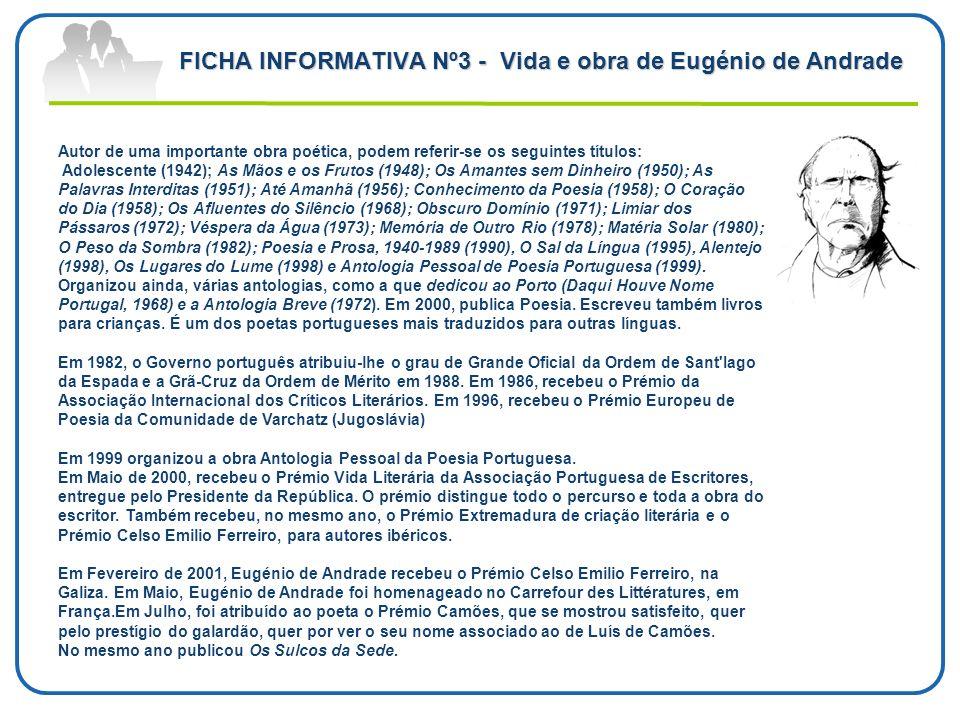 FICHA INFORMATIVA Nº3 - Vida e obra de Eugénio de Andrade Autor de uma importante obra poética, podem referir-se os seguintes títulos: Adolescente (19
