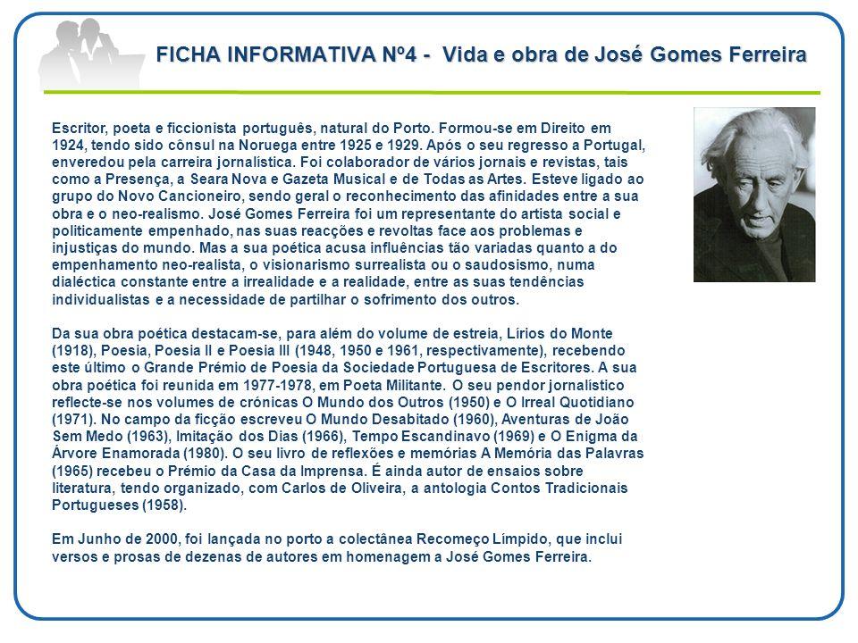 FICHA INFORMATIVA Nº4 - Vida e obra de José Gomes Ferreira Escritor, poeta e ficcionista português, natural do Porto. Formou-se em Direito em 1924, te