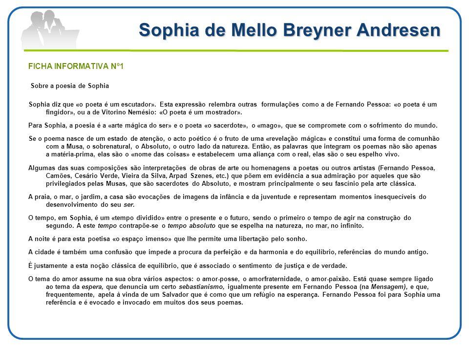 Sophia de Mello Breyner Andresen FICHA INFORMATIVA Nº1 Sobre a poesia de Sophia Sophia diz que «o poeta é um escutador». Esta expressão relembra outra