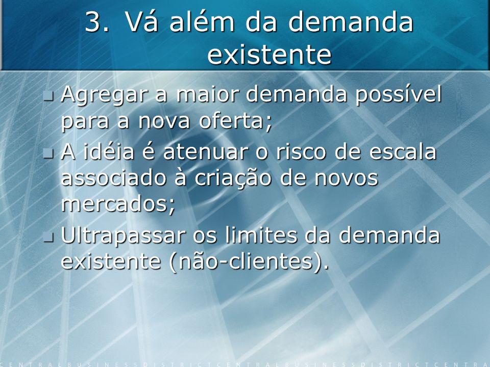 3.Vá além da demanda existente Agregar a maior demanda possível para a nova oferta; Agregar a maior demanda possível para a nova oferta; A idéia é ate