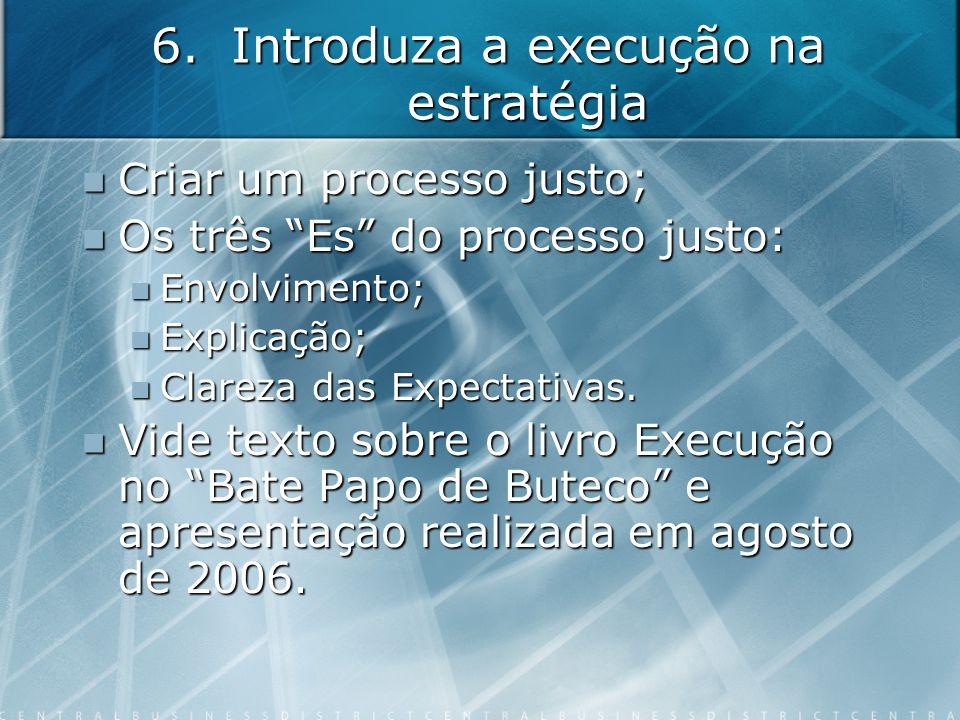6.Introduza a execução na estratégia Criar um processo justo; Criar um processo justo; Os três Es do processo justo: Os três Es do processo justo: Env