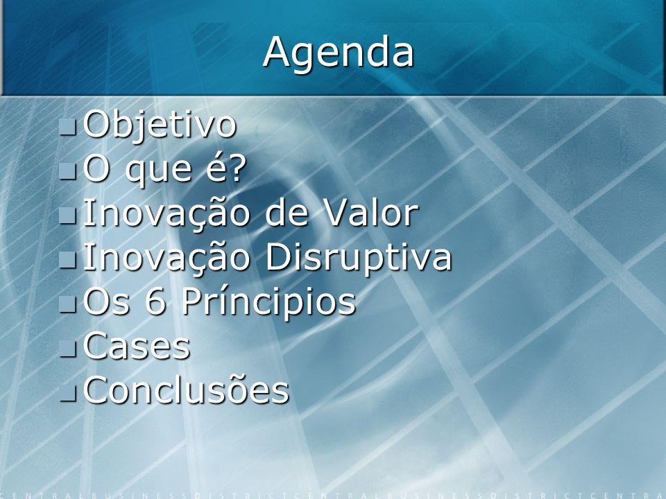 Agenda Objetivo Objetivo O que é? O que é? Inovação de Valor Inovação de Valor Inovação Disruptiva Inovação Disruptiva Os 6 Príncipios Os 6 Príncipios