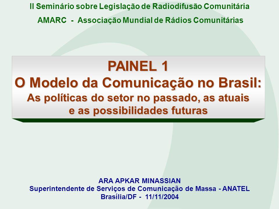 II Seminário sobre Legislação de Radiodifusão Comunitária PAINEL 1 O Modelo da Comunicação no Brasil: As políticas do setor no passado, as atuais e as