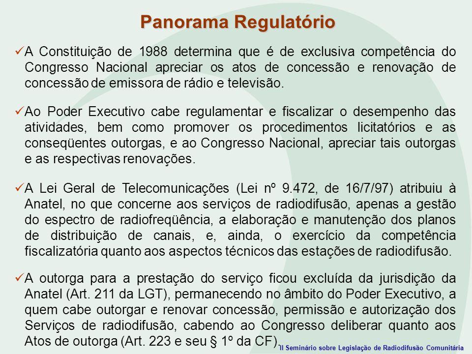 II Seminário sobre Legislação de Radiodifusão Comunitária A Constituição de 1988 determina que é de exclusiva competência do Congresso Nacional apreci
