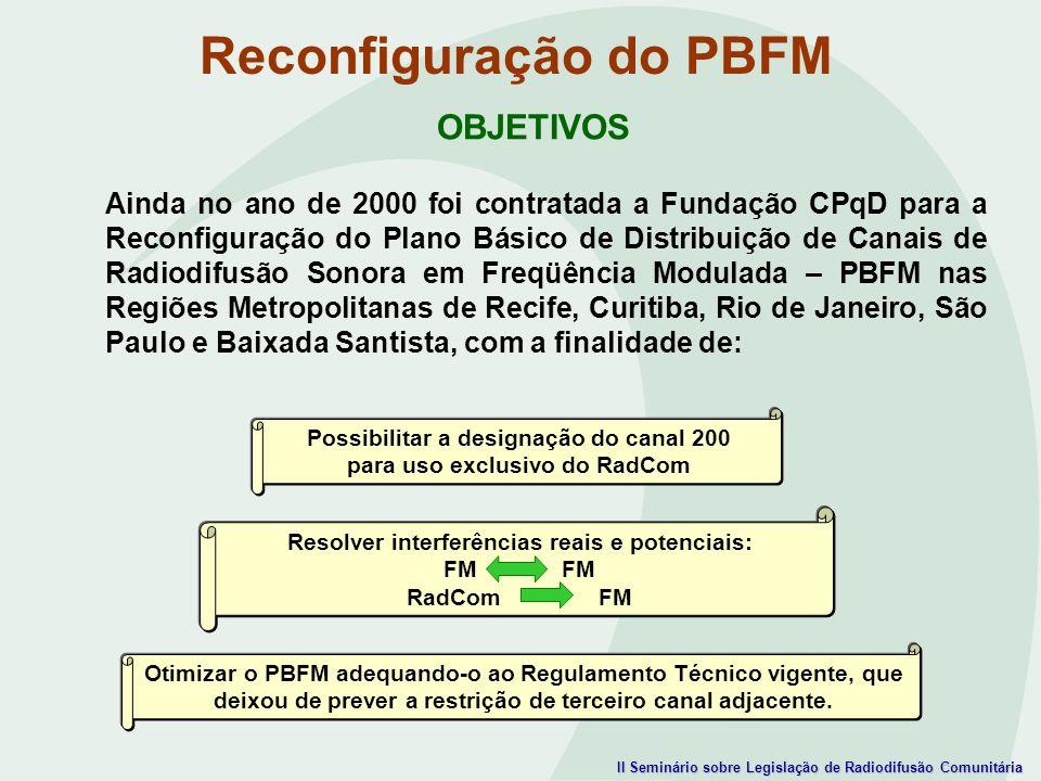 II Seminário sobre Legislação de Radiodifusão Comunitária OBJETIVOS Ainda no ano de 2000 foi contratada a Fundação CPqD para a Reconfiguração do Plano