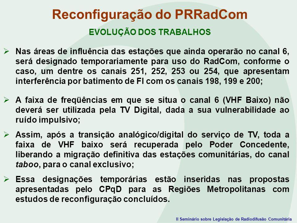 II Seminário sobre Legislação de Radiodifusão Comunitária Reconfiguração do PRRadCom EVOLUÇÃO DOS TRABALHOS Nas áreas de influência das estações que a