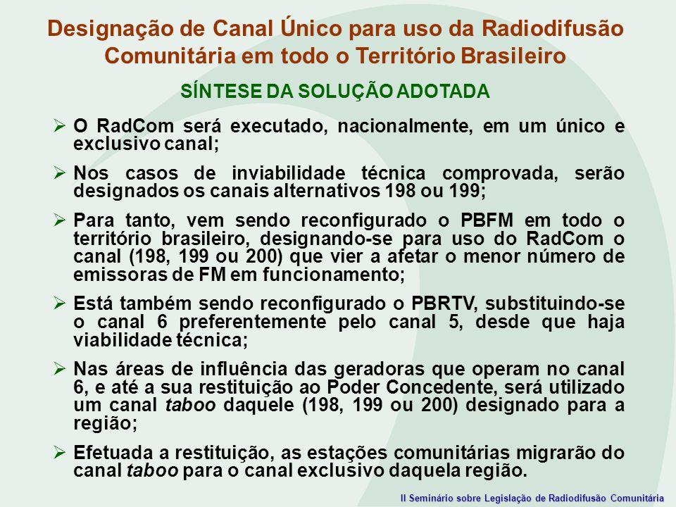 II Seminário sobre Legislação de Radiodifusão Comunitária Designação de Canal Único para uso da Radiodifusão Comunitária em todo o Território Brasilei