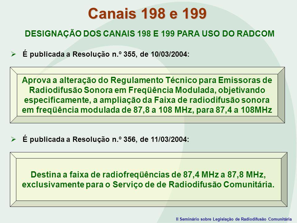 II Seminário sobre Legislação de Radiodifusão Comunitária DESIGNAÇÃO DOS CANAIS 198 E 199 PARA USO DO RADCOM É publicada a Resolução n.º 355, de 10/03