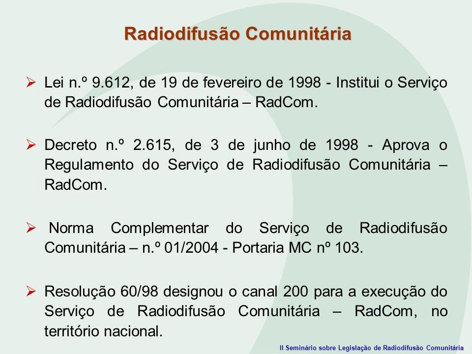 II Seminário sobre Legislação de Radiodifusão Comunitária Lei n.º 9.612, de 19 de fevereiro de 1998 - Institui o Serviço de Radiodifusão Comunitária –