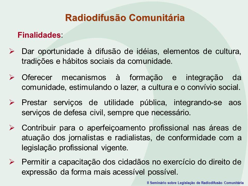 II Seminário sobre Legislação de Radiodifusão Comunitária Finalidades: Dar oportunidade à difusão de idéias, elementos de cultura, tradições e hábitos
