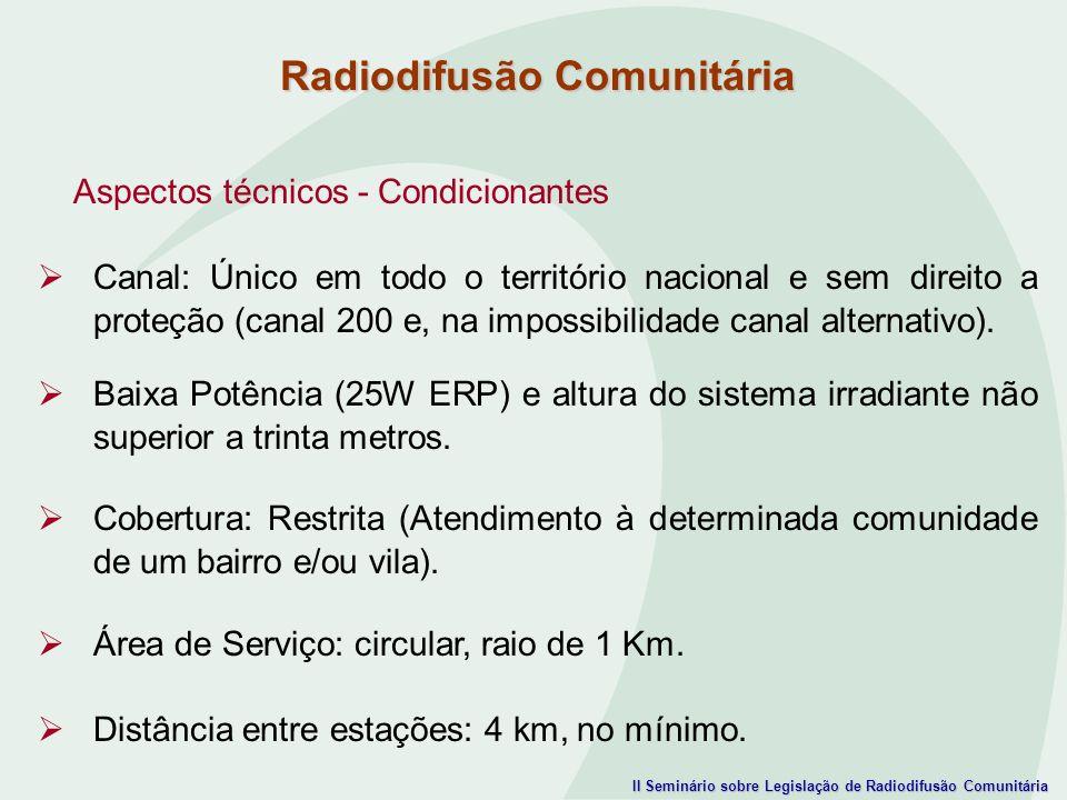II Seminário sobre Legislação de Radiodifusão Comunitária Aspectos técnicos - Condicionantes Canal: Único em todo o território nacional e sem direito