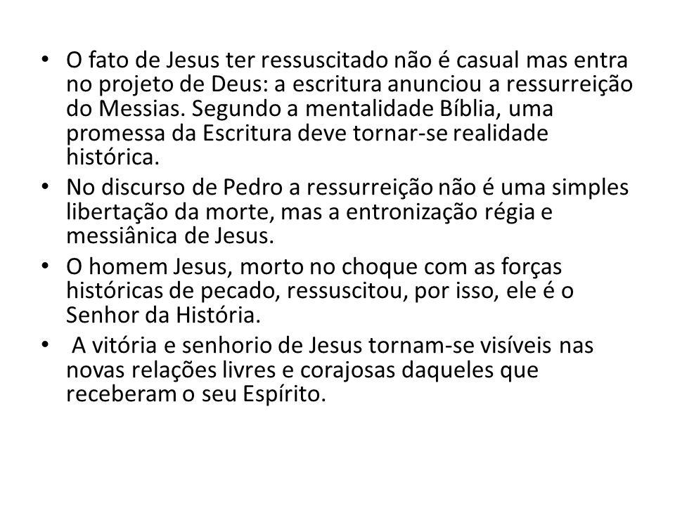 O fato de Jesus ter ressuscitado não é casual mas entra no projeto de Deus: a escritura anunciou a ressurreição do Messias. Segundo a mentalidade Bíbl
