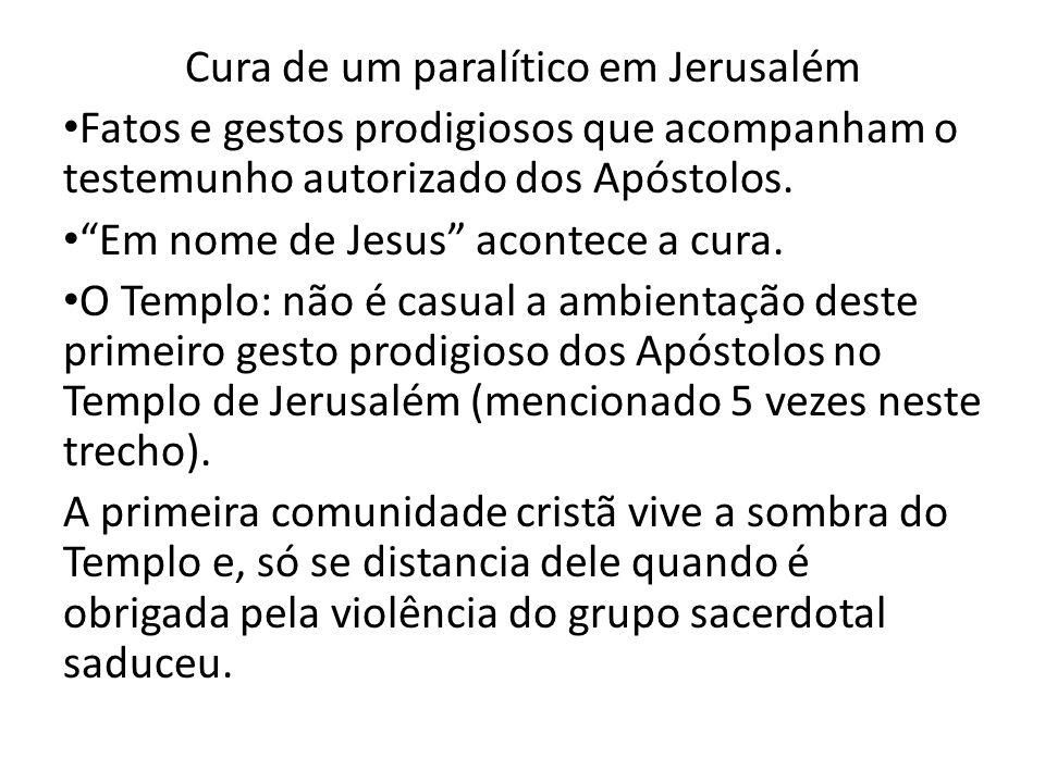 Cura de um paralítico em Jerusalém Fatos e gestos prodigiosos que acompanham o testemunho autorizado dos Apóstolos. Em nome de Jesus acontece a cura.