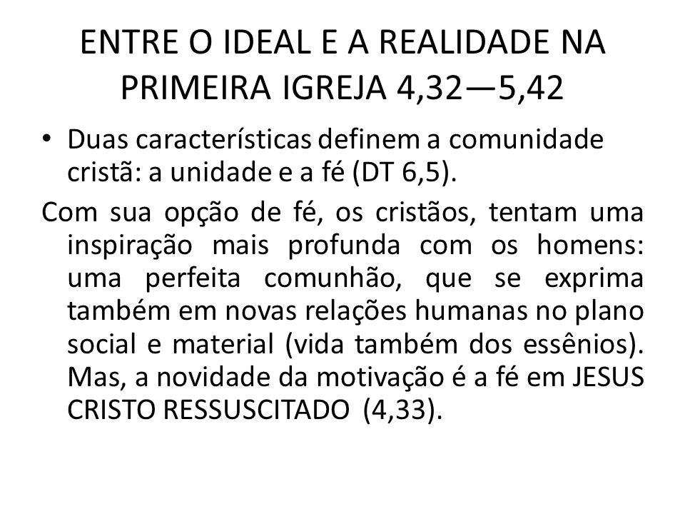 ENTRE O IDEAL E A REALIDADE NA PRIMEIRA IGREJA 4,325,42 Duas características definem a comunidade cristã: a unidade e a fé (DT 6,5). Com sua opção de