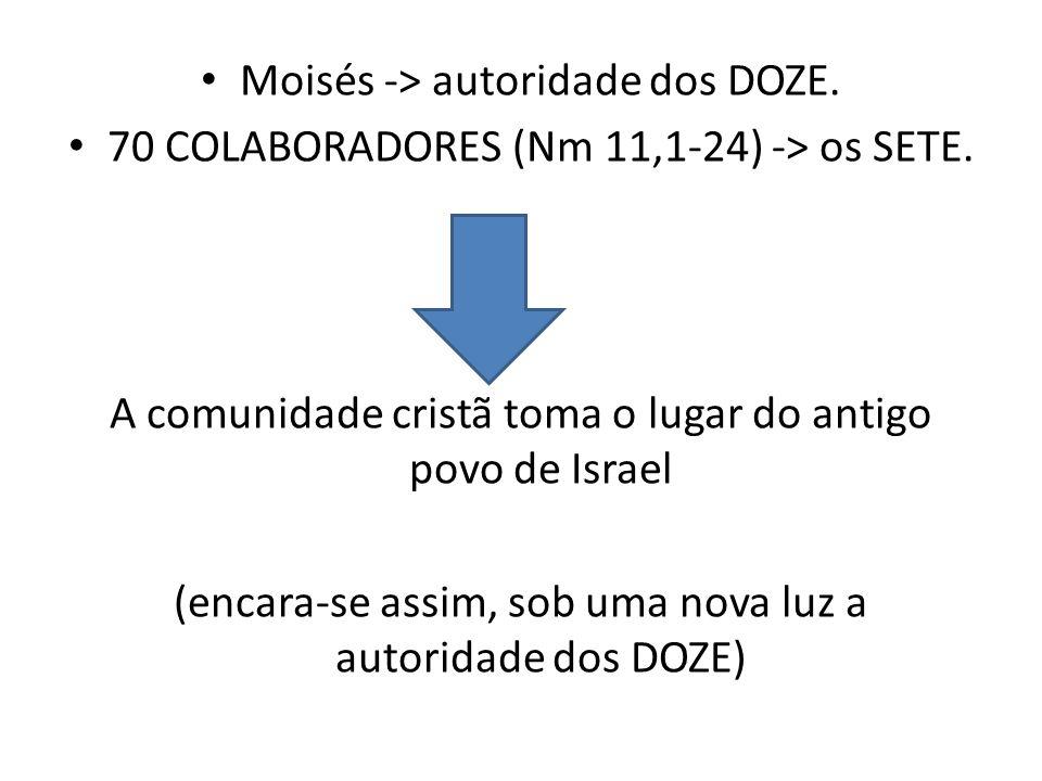 Moisés -> autoridade dos DOZE. 70 COLABORADORES (Nm 11,1-24) -> os SETE. A comunidade cristã toma o lugar do antigo povo de Israel (encara-se assim, s