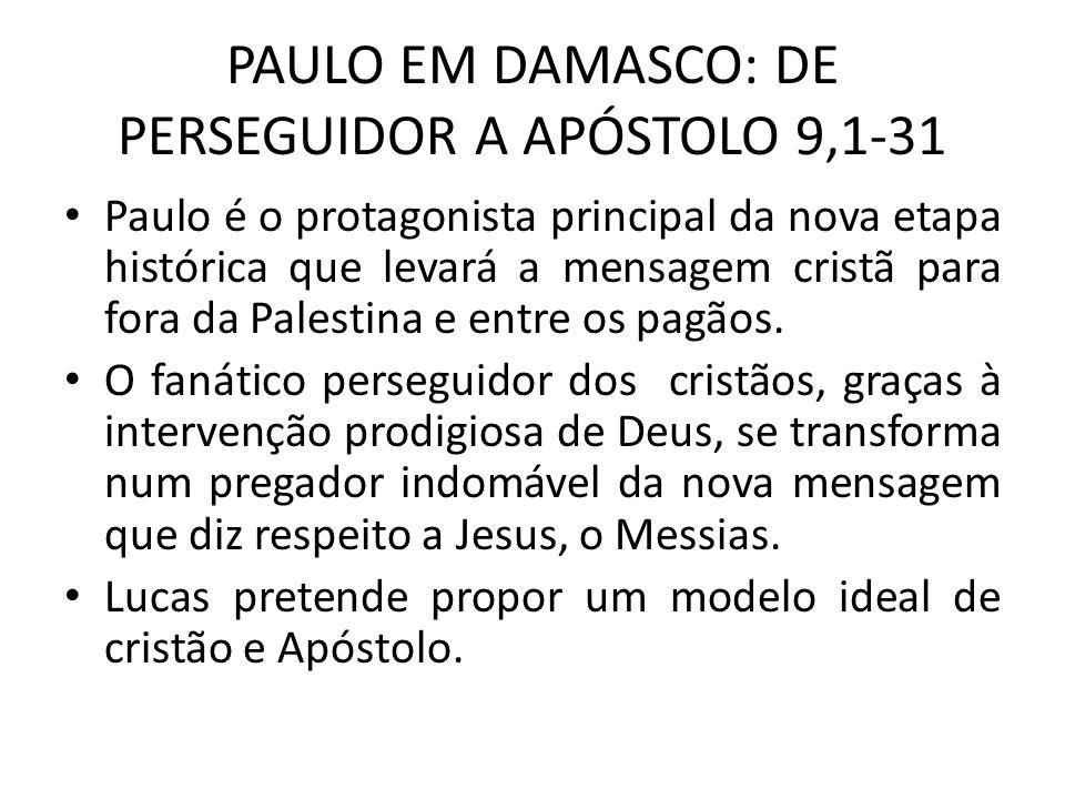 PAULO EM DAMASCO: DE PERSEGUIDOR A APÓSTOLO 9,1-31 Paulo é o protagonista principal da nova etapa histórica que levará a mensagem cristã para fora da