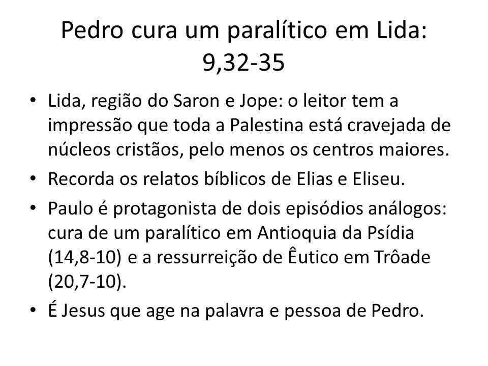 Pedro cura um paralítico em Lida: 9,32-35 Lida, região do Saron e Jope: o leitor tem a impressão que toda a Palestina está cravejada de núcleos cristã