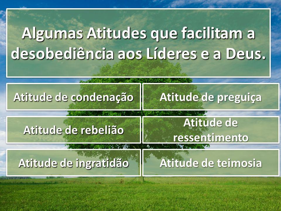 Algumas Atitudes que facilitam a desobediência aos Líderes e a Deus. Atitude de condenação Atitude de rebelião Atitude de ingratidão Atitude de pregui