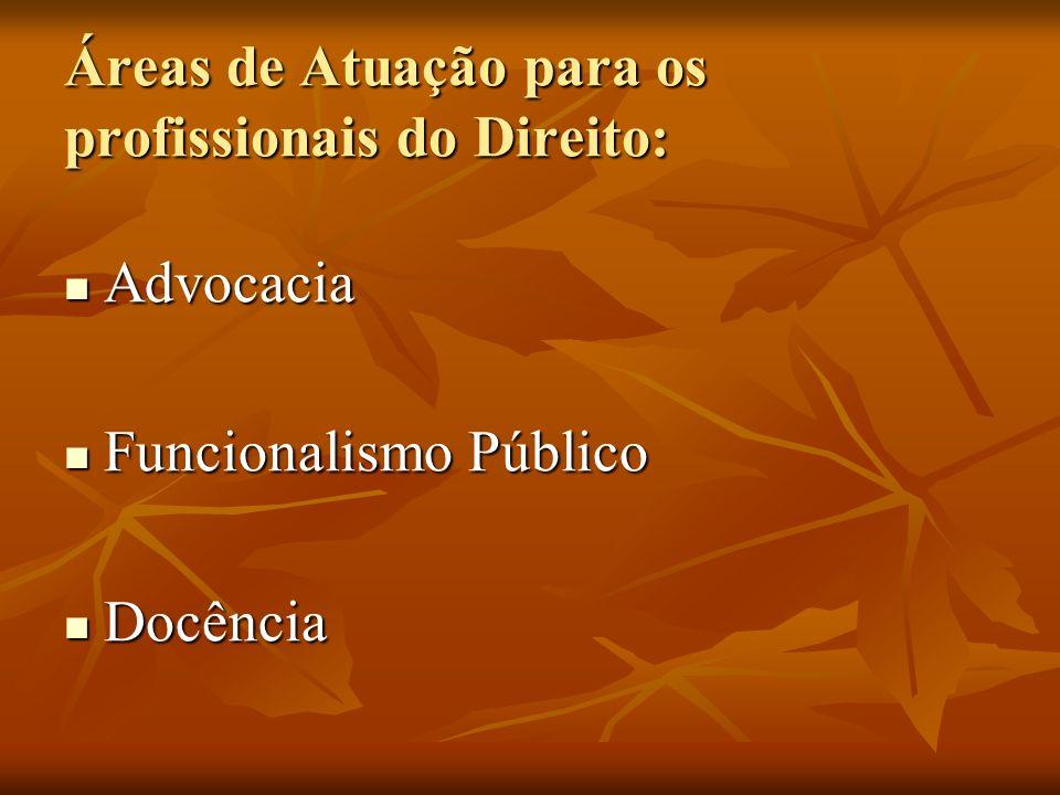 Áreas de Atuação para os profissionais do Direito: Advocacia Advocacia Funcionalismo Público Funcionalismo Público Docência Docência