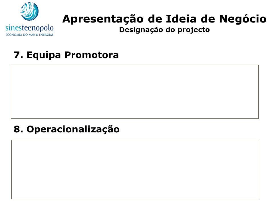 7. Equipa Promotora 8. Operacionalização Apresentação de Ideia de Negócio Designação do projecto