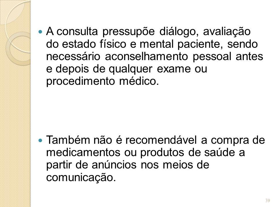 A consulta pressupõe diálogo, avaliação do estado físico e mental paciente, sendo necessário aconselhamento pessoal antes e depois de qualquer exame o