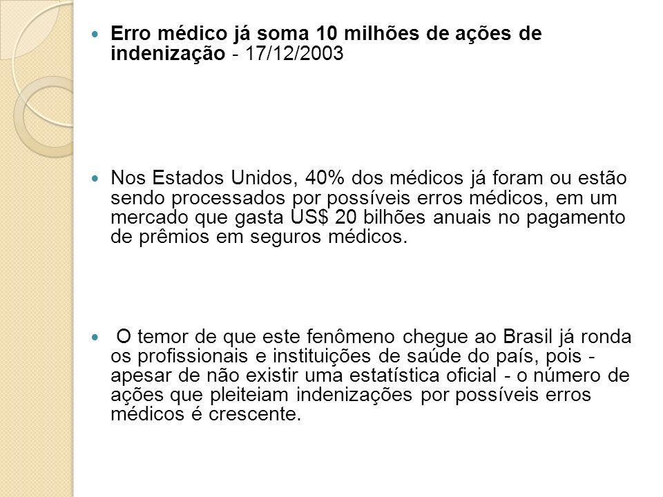 Erro médico já soma 10 milhões de ações de indenização - 17/12/2003 Nos Estados Unidos, 40% dos médicos já foram ou estão sendo processados por possív