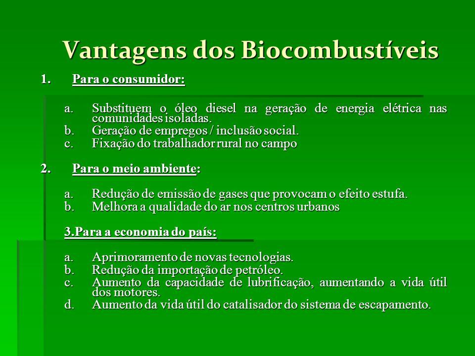 Vantagens dos Biocombustíveis Vantagens dos Biocombustíveis 1.Para o consumidor: a.Substituem o óleo diesel na geração de energia elétrica nas comunid